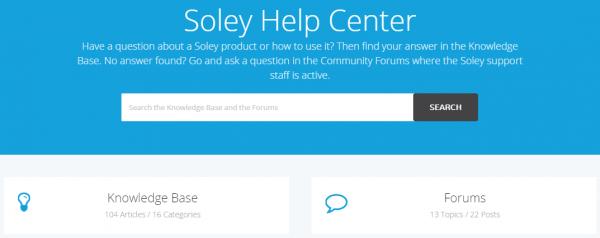 Soley Help Center Start Page