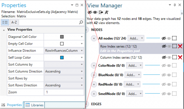 Select a row series and customize the view in the properties pad
