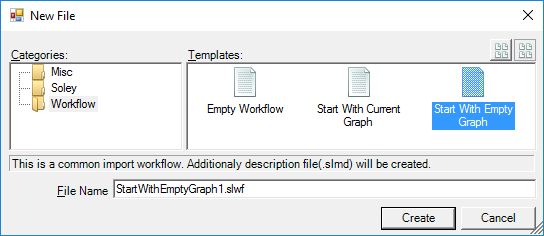 The add new file dialog in Soley Studio with the Workflow folder selected, showing the predefined workflow templates