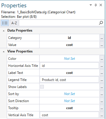 Modify the Properties of the Bar Chart in the Properties Pad
