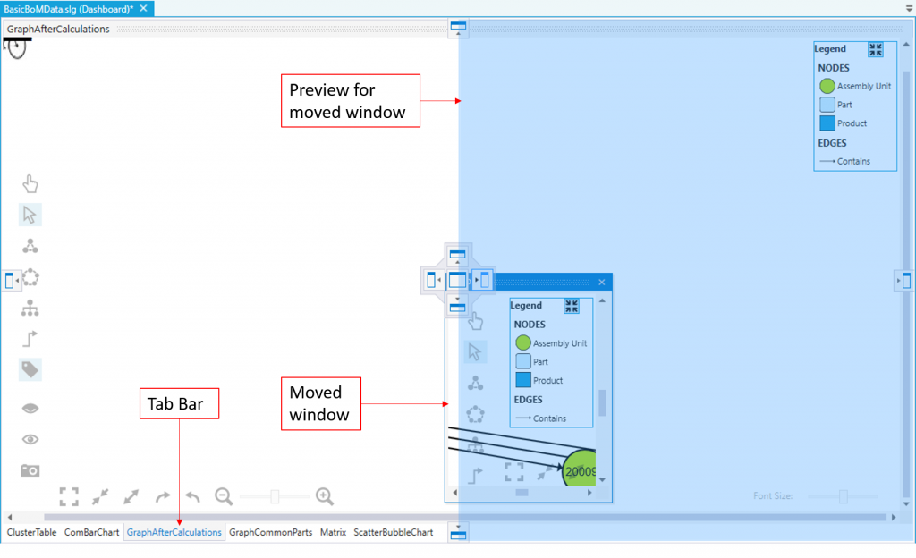 Arranging of windows in the Dashboard View