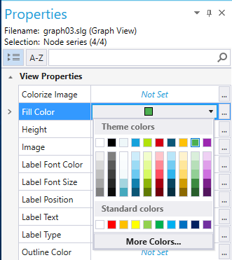 Screenshot of the color picker used to define the Fill color view property of a selected series of nodes