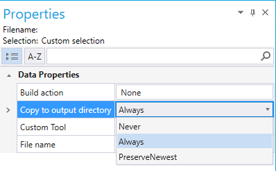 Properties pad for data file with Copy to output directory dropdown menu highlighted
