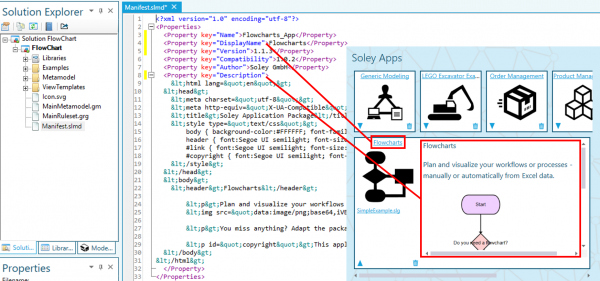 Manifest.slmd file containing the apps' metadata and relation to app display in Soley Desk.