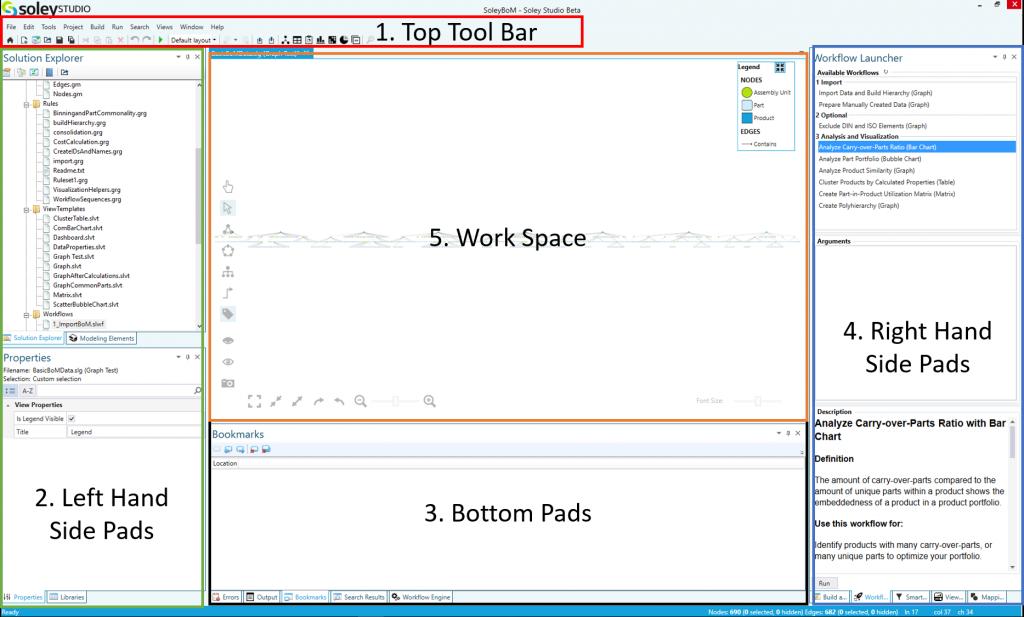 Screenshot of the default user interface of Soley Studio