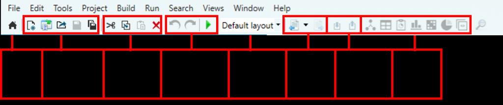 Screenshot of the top menu and toolbar of Soley Studio