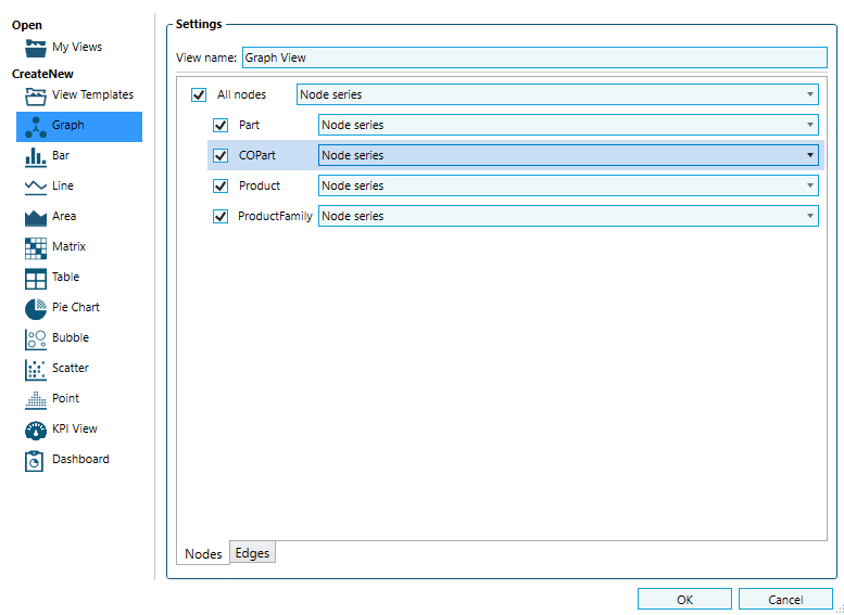 Grap View Settings in Soley Studio. Choose which types of Nodes and Edges should be displayed in your Graph View.