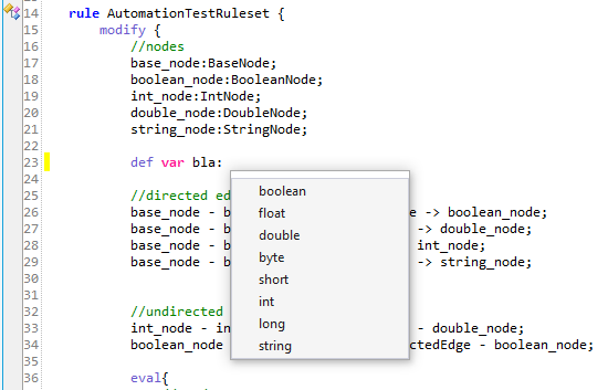 One of the possible uses of Code Autocompletion within Soley Studio. The image shows variable types being suggested to the user through the pop-up window.