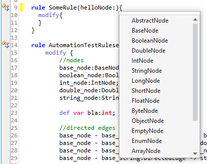 A possible application of the Code Autocompletion feature within Soley Studio. The image portrays metamodel data types being provided for automatic filling in.